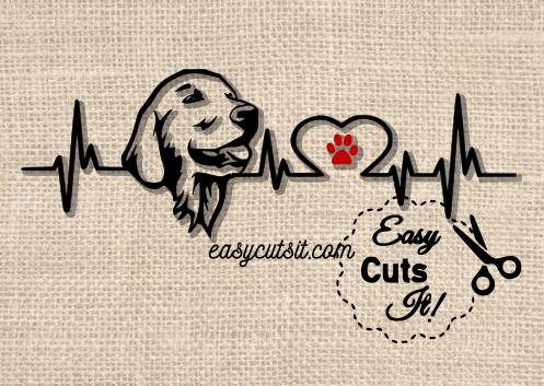 Free Golden Retriever Heartbeat Svg Dxf Eps Pdf Studio