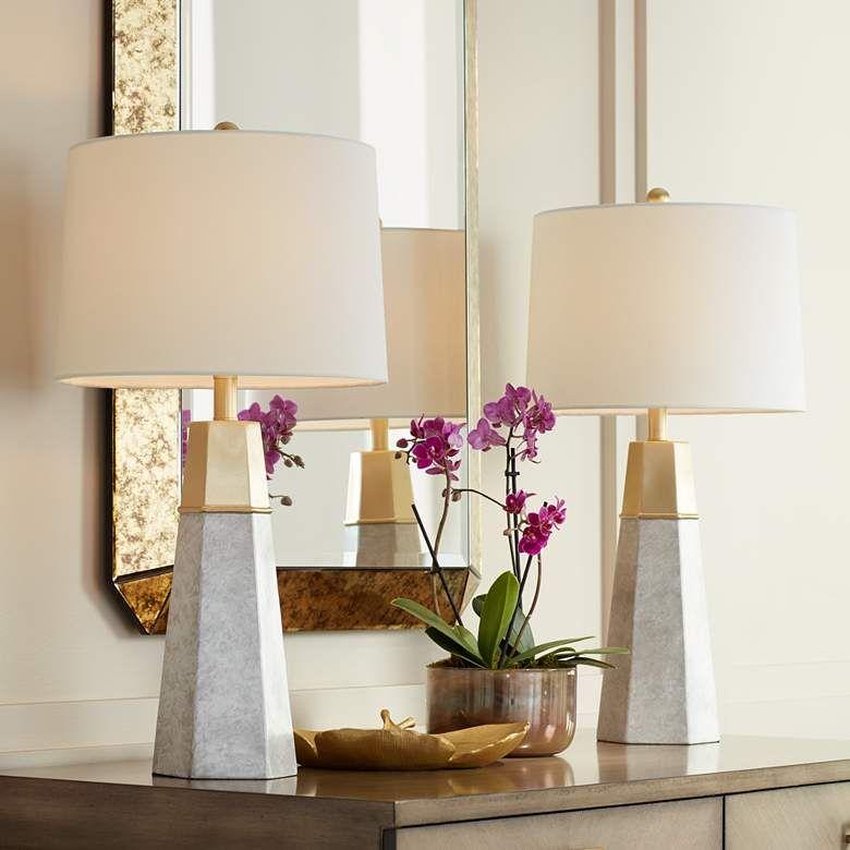 Julie Tapered Column Table Lamps Set Of 2 63r09 Lamps Plus Modern Table Lamp Table Lamp Sets Table Lamps Living Room