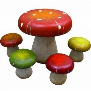 Patio furniture table and chair sets toadstool mushrooms. A touch of unique fantasy design outdoor patio furniture for garden and terrace in the table mushroom charm. But in addition to patio furniture outdoor, toadstool table and stool set this strange fantasy designs for a child's bedroom. Design robust and durable construction of weatherproof resin.