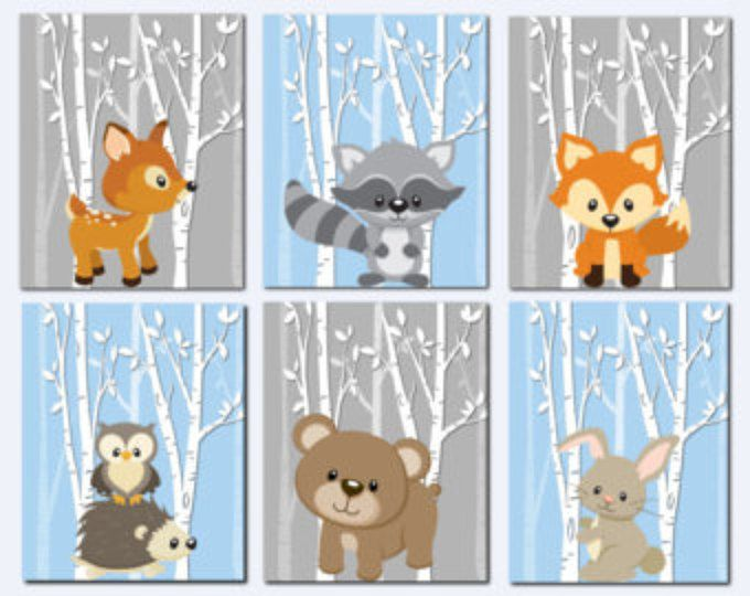 Woodland Nursery, Woodland Wall Decor Kids, Teal, Gray, Forest ...