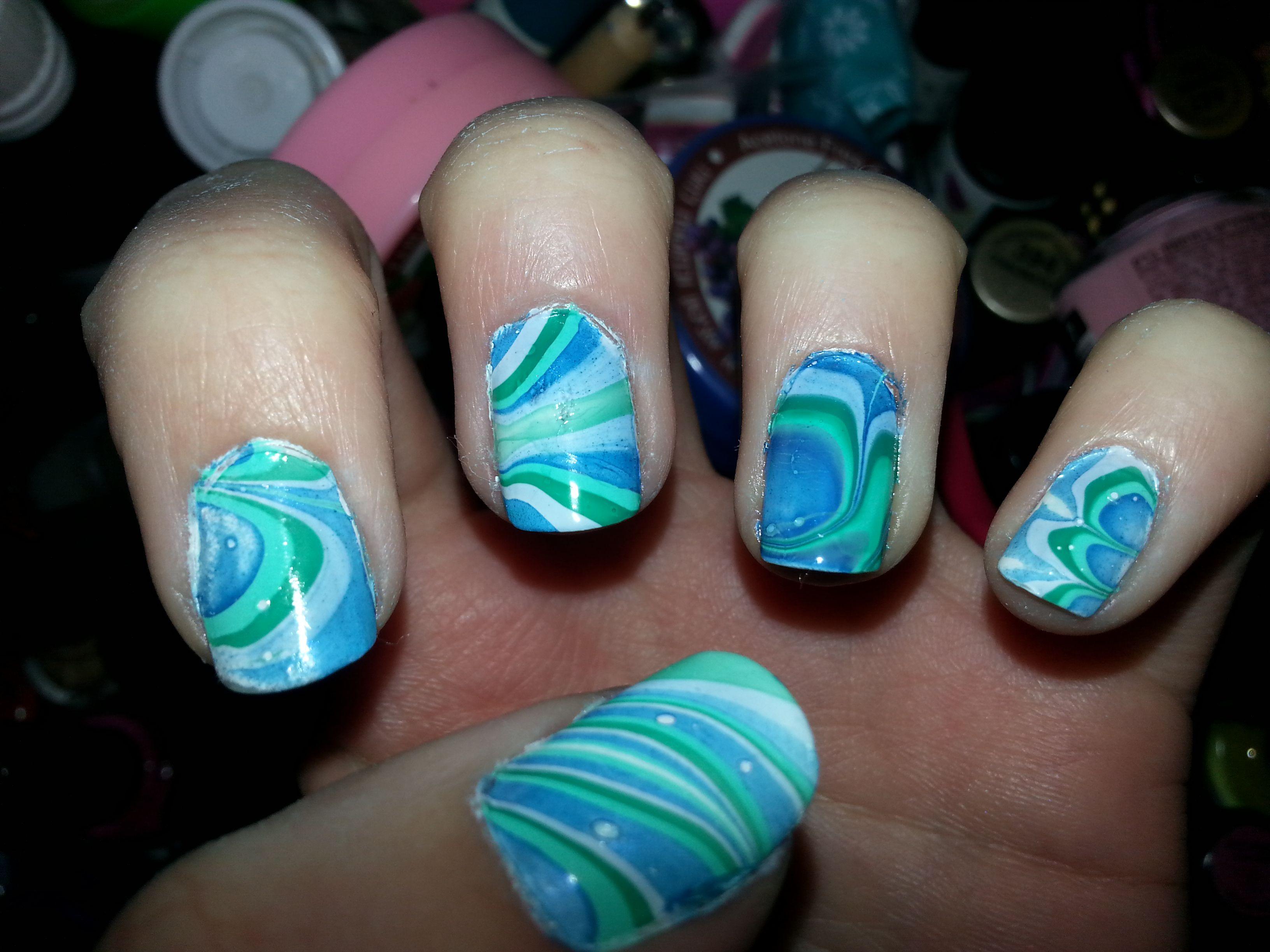 Blue Green Marble Nail Art Marble Nail Art Nails Nail Art