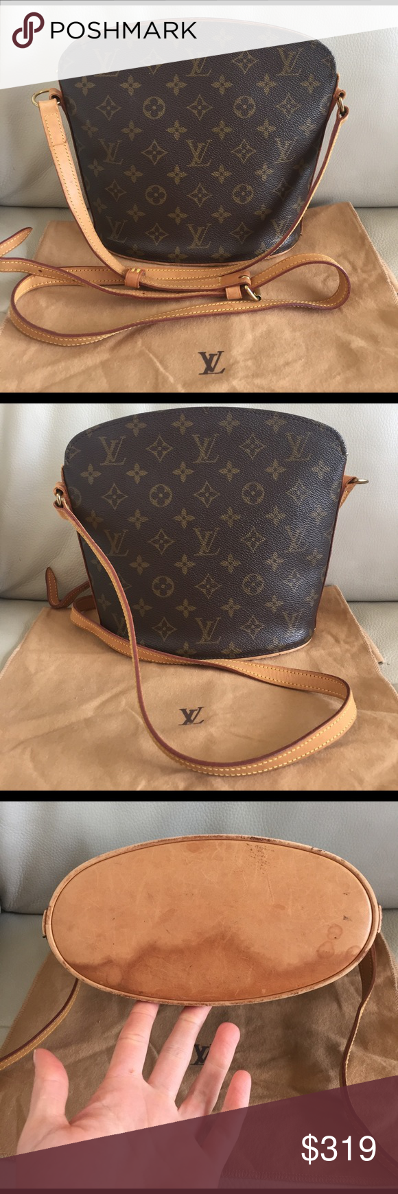 """💯Authentic Louis Vuitton Drouot crossbody vintage Classic vintage. Cross Body. Leather bottom has dirty stains. Straps have turned into a honey patina, have minor stains, scratches and show wear. Inside is clean, except the pocket that is peeling. Monogram canvas has no rips or tears. Measurements: 9.44W x 8.66H x 3.93D"""" - straps: 43-50"""" approx. made in France in November, 2011 - date code: VI1011 - Check pictures for signs of wear. 100% Authentic - comes with dust bag Louis Vuitton Bags…"""