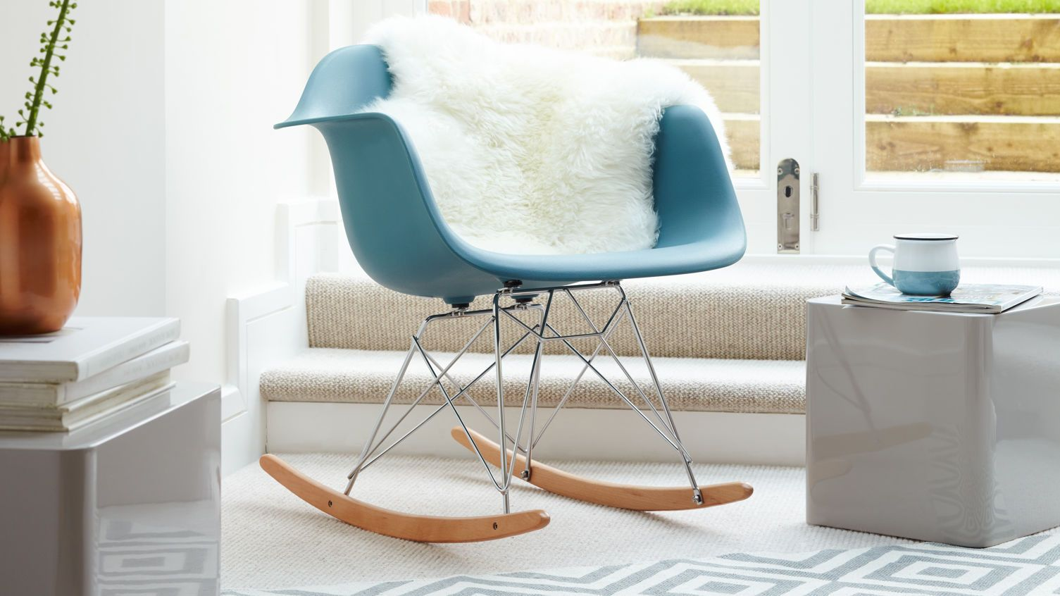 eames rocking chair in teal from danetti danetti iconic eames