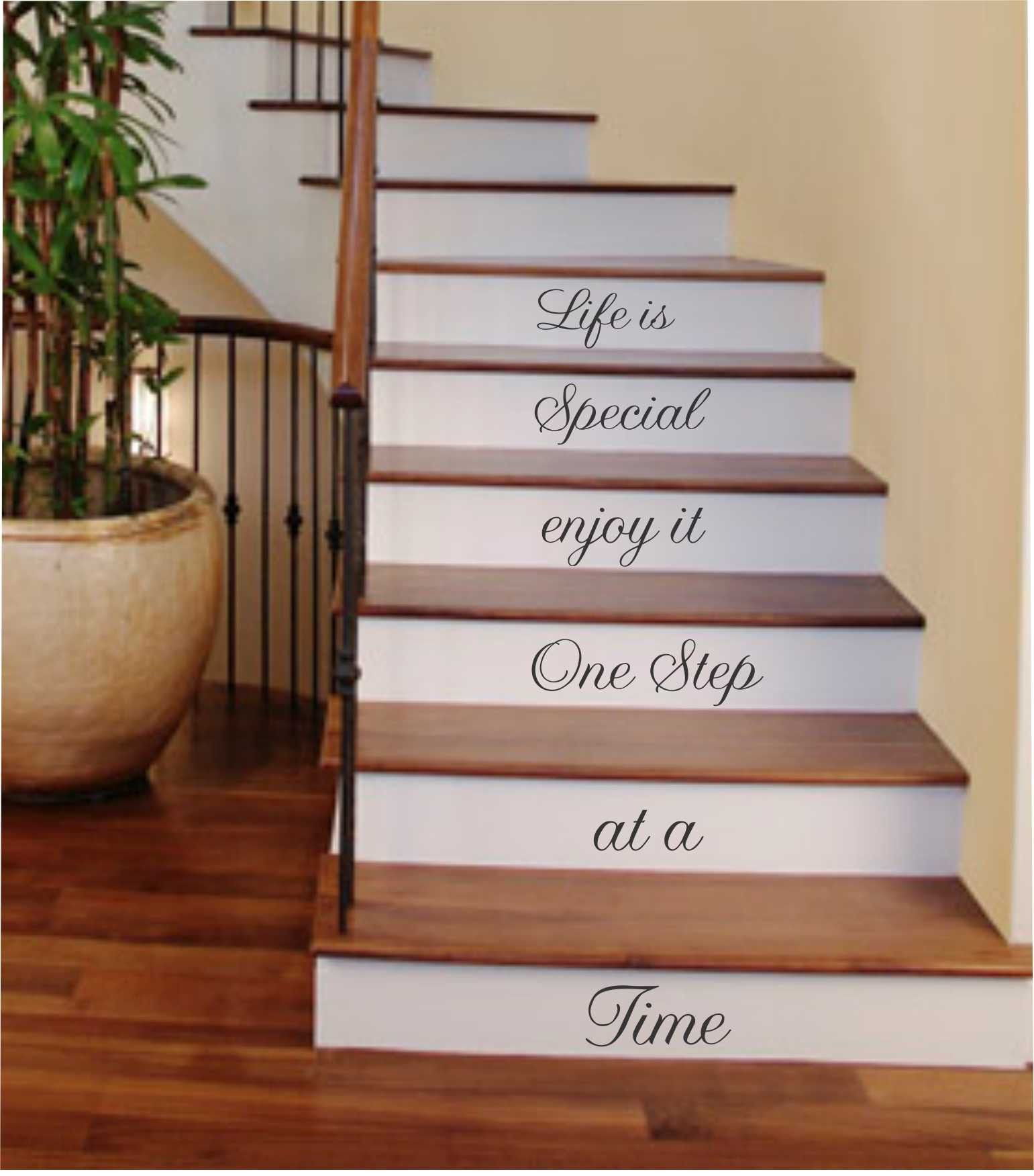e Step at a Time Vinyl Stairs Decal Lettering for Stairs