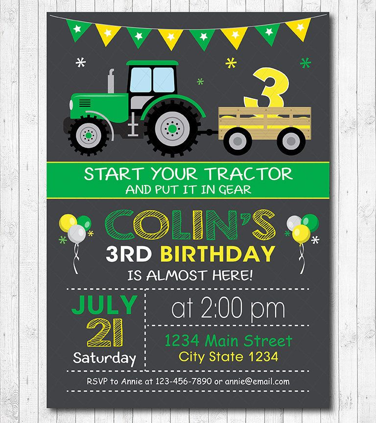 Traktor Geburtstags Einladung Digital Bedruckbare Einladung