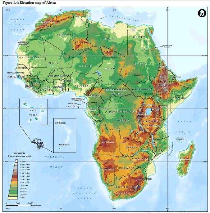Elevation Map of Africa | Maps   Africa & African Countries