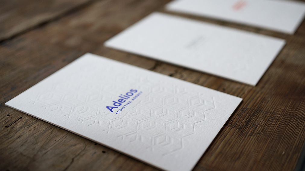 Letterpress business card for Adelios, creative agency. Duplex paper. #letterpress #letterpressprinting #letterpressbusinesscard @octopusletterpressstudio