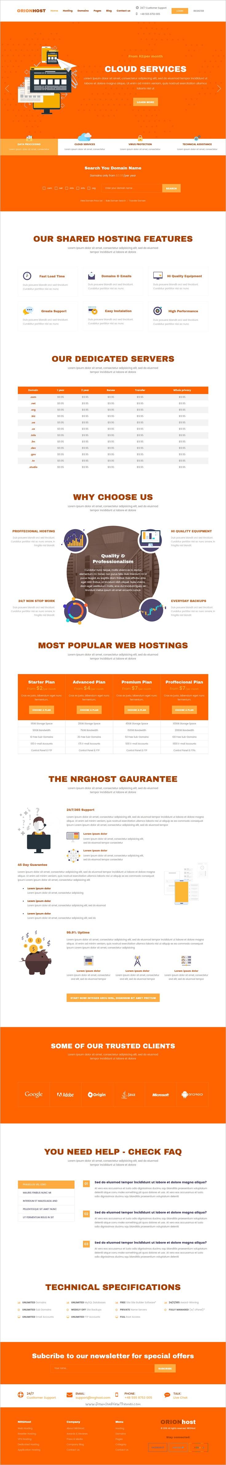 OrionHost Web Hosting Domain Technology Responsive HTML Template