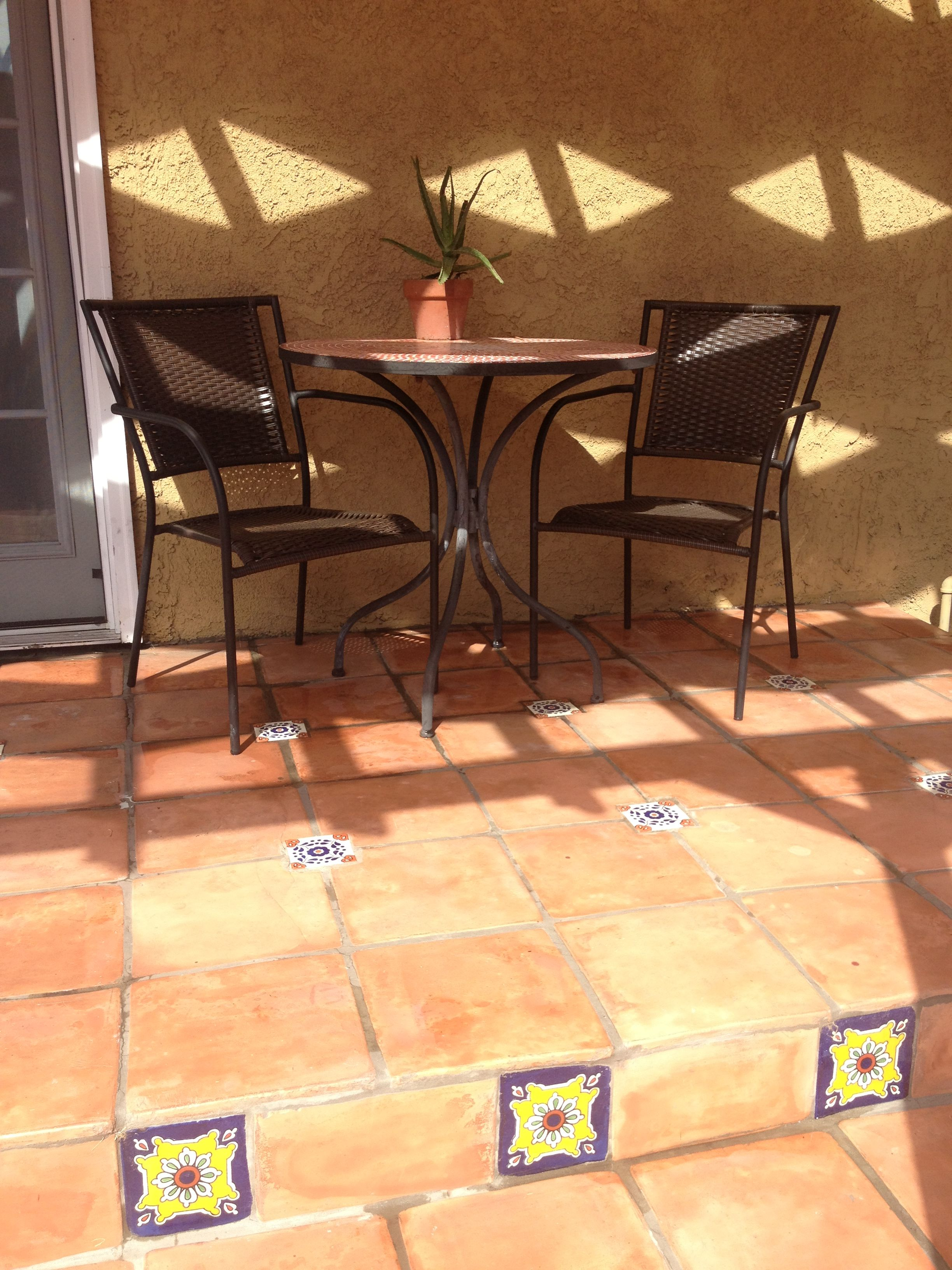 Mosaic bistro table, spanish tiled patio with handpainted ...