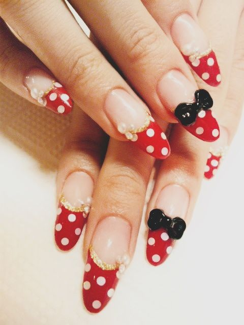 Minnie Mouse theme nails | acrylic nails, gel, acrylic, manicures ...