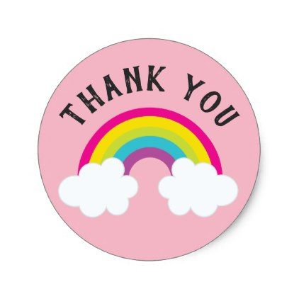Over the rainbow thank you classic round sticker baby shower ideas party babies newborn gifts