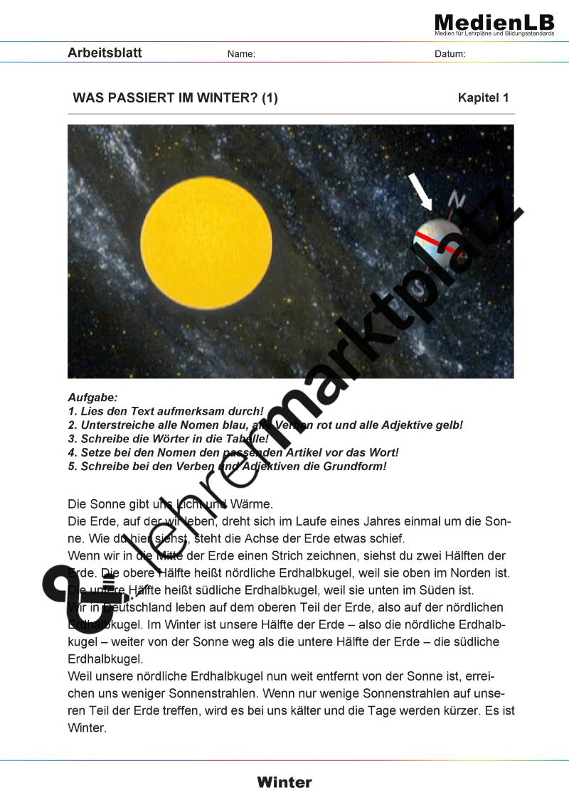 Winter - Die kalte Jahreszeit (inkl. Smartboard-Dateien) – Deutsch ...