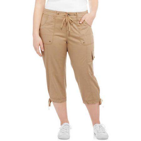 6739d21a5f Plus Size Faded Glory Women's Plus Cargo Capri Pant, Size: 22W, Beige