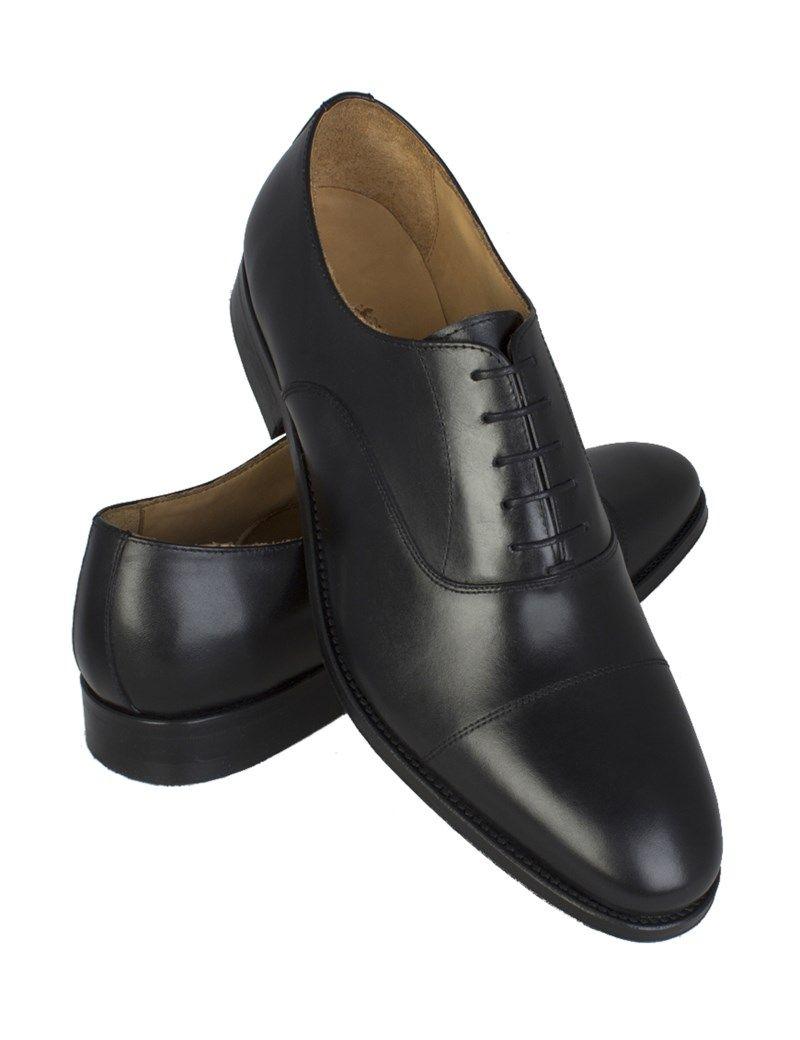 52d141760c5c H C Men s Black Leather Hudson Oxford Toe Cap Shoe