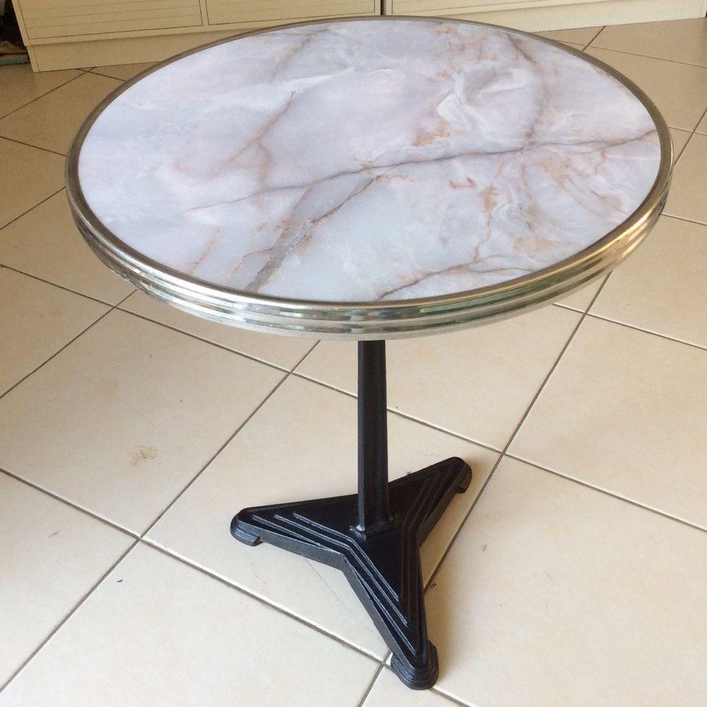 Table Gueridon Art Cerclage Pied Metal Bistrot De Deco Avec Fonte En QsthCdr