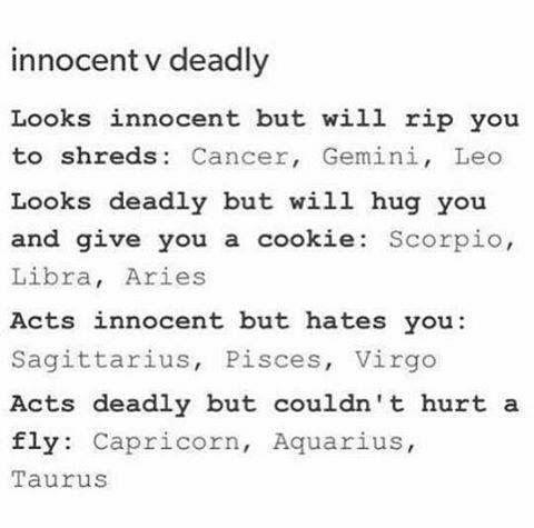 Zodiac Signs - Innocent VS. Deadly