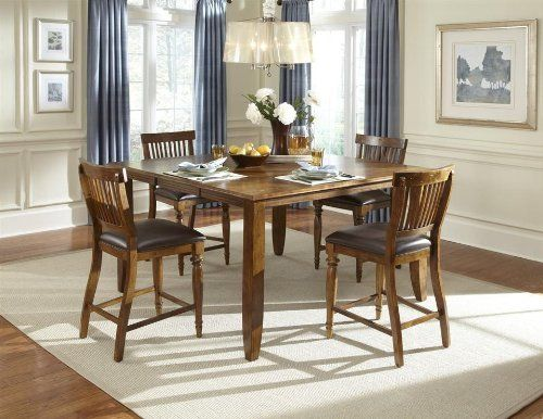 Delphina Counter Height Dining Table Set w 4 Delphina Stools by
