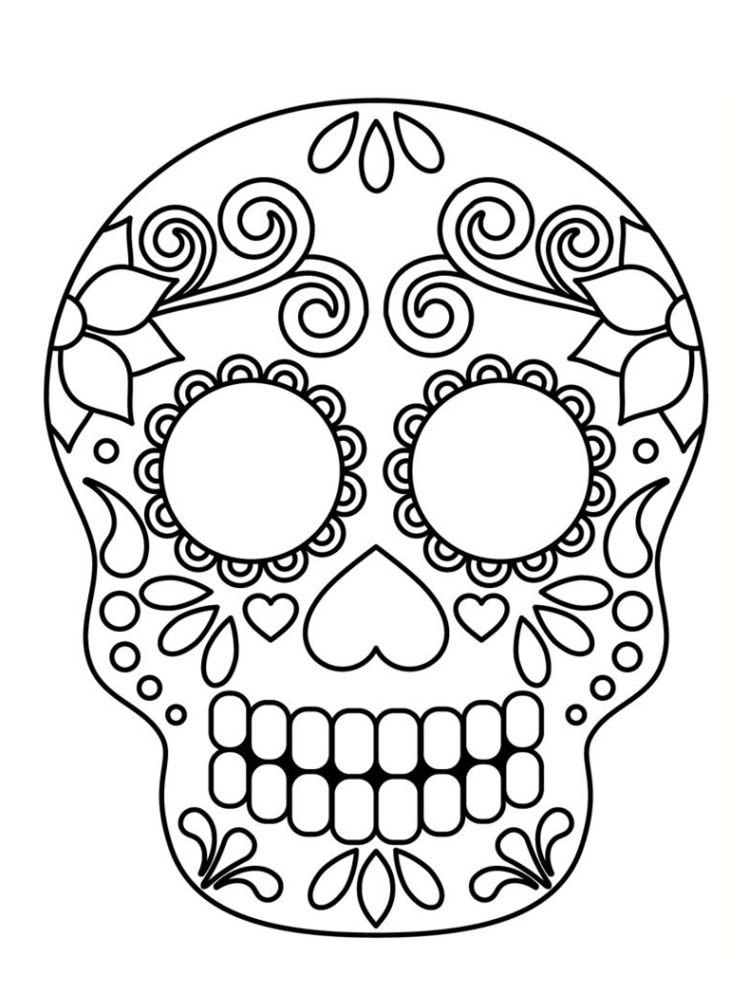 Coloriage t te de mort mexicaine