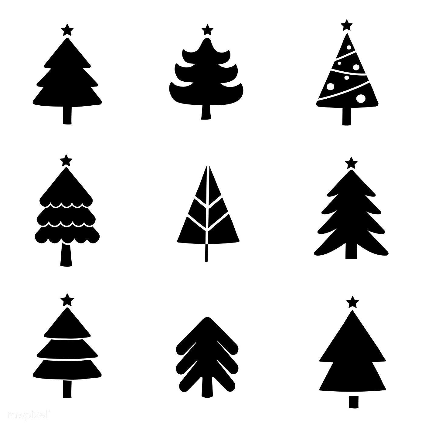 Set Of Christmas Tree Design Elements Vector Free Image By Rawpixel Com Christmas Tree Design Tree Designs Christmas Design
