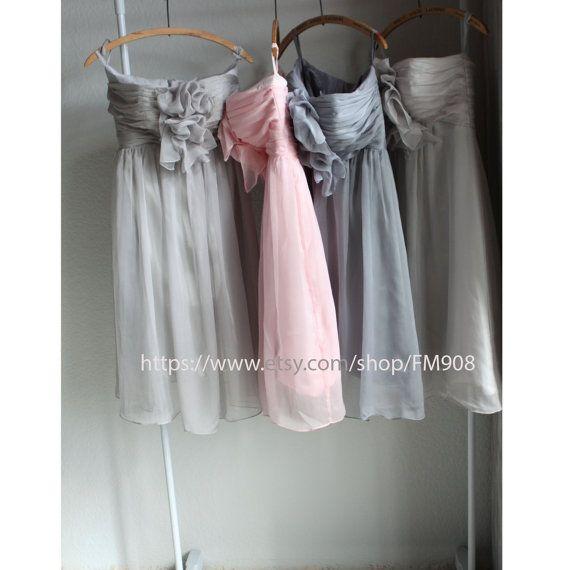 chiffon party dress, grey bridesmaid dress, strapless formal dress  (B007)) on Etsy, $98.00