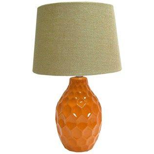 20 Orange Dimpled Ceramic Table Lamp With Burlap Shade