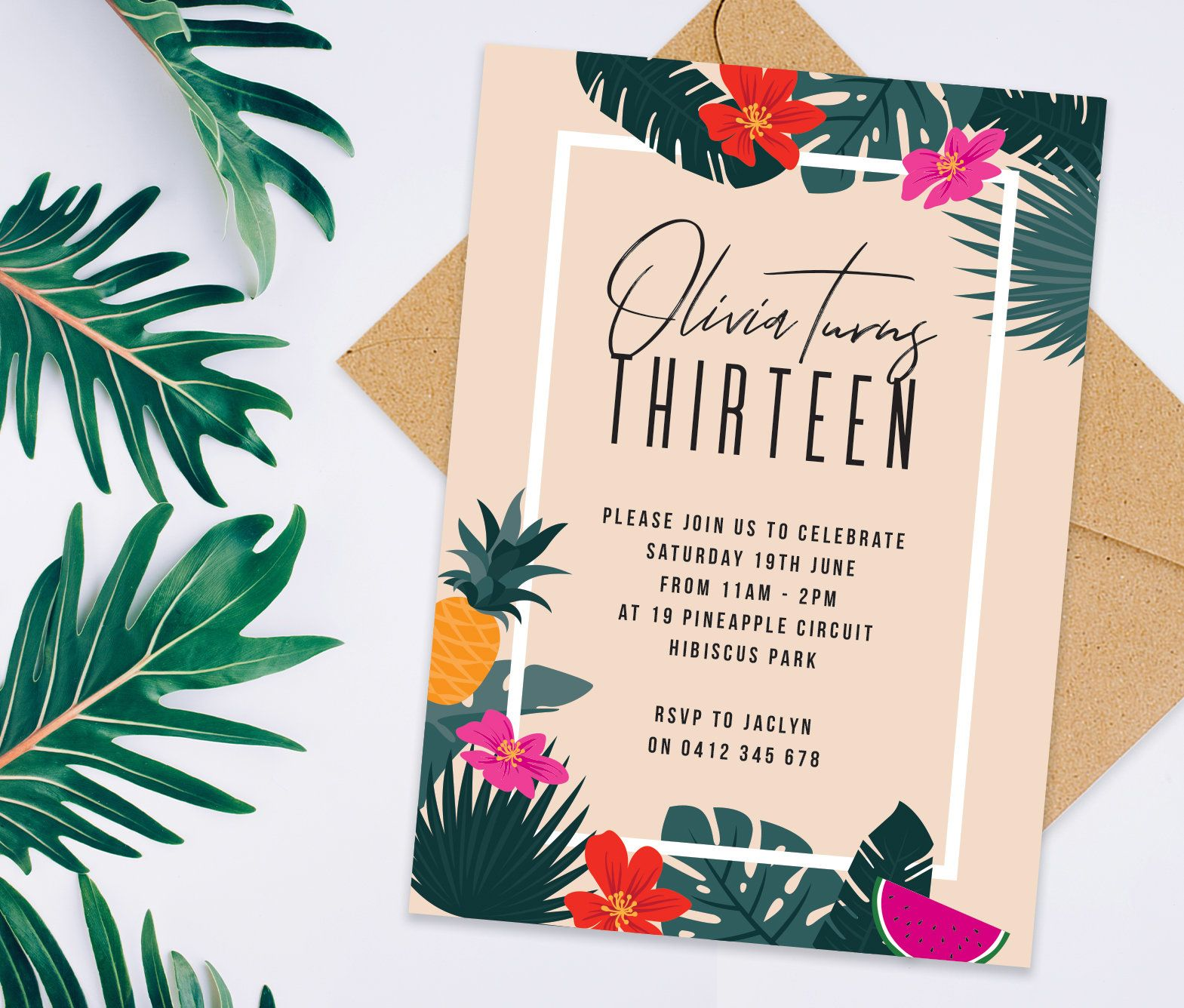 Hawaiian Birthday Invitations