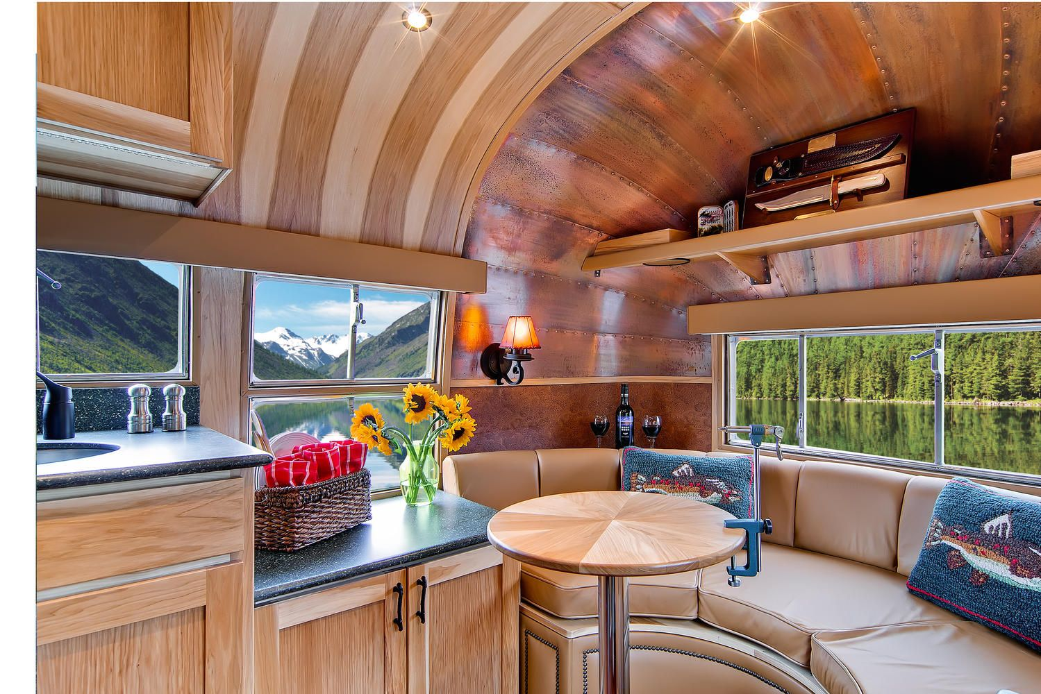 This One Of A Kind 1954 Airstream Flying Cloud Was Originally Used As A Hunting And Fishing Lodge Near Vintage Airstream Airstream Interior Airstream Trailers