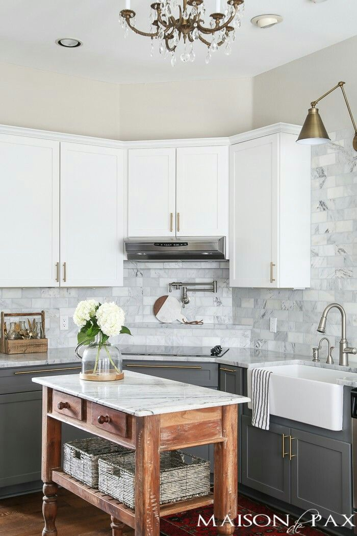 white gray cabinets with marble countertops and backslash might be great with copper pulls on kitchen cabinets grey and white id=47057