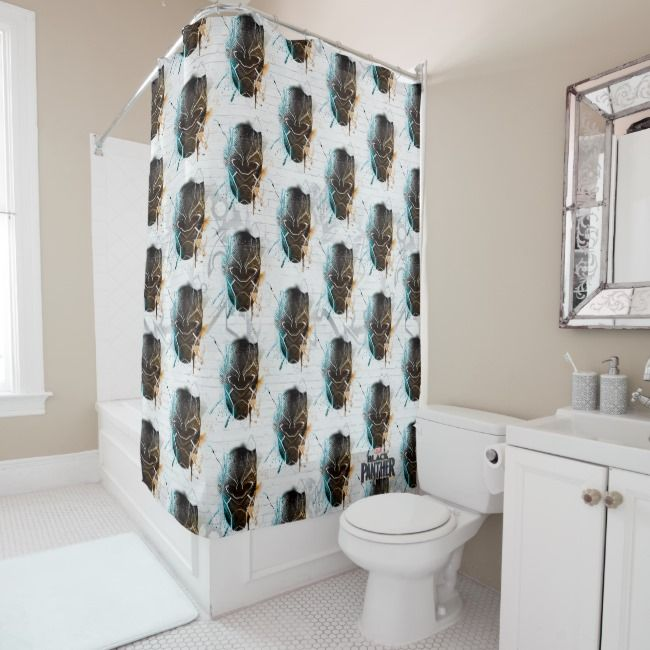 Black Panther Dual Panthers Street Art Shower Curtain Zazzle