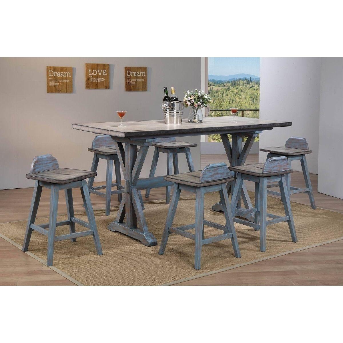 Colorado Counter Height 7 Piece Dining Set (Grey Wood