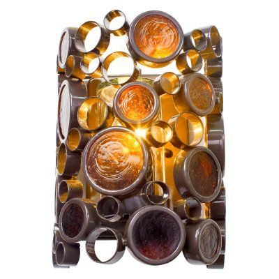 Varaluz Fascination Outdoor Wall Bracket - 8W in. Glossy Bronze with Amber Bottle Glass - 765KS01, Durable