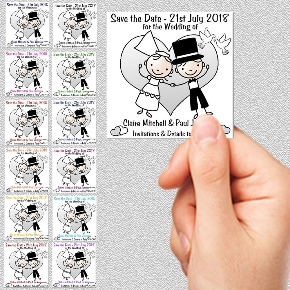 Save the Date Wedding Cards+Envs Personalised 7x7cm