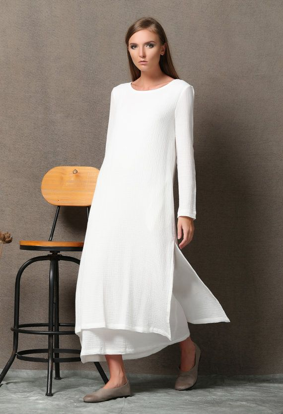 White linen dress, long linen dress, linen dress, maxi dress ...
