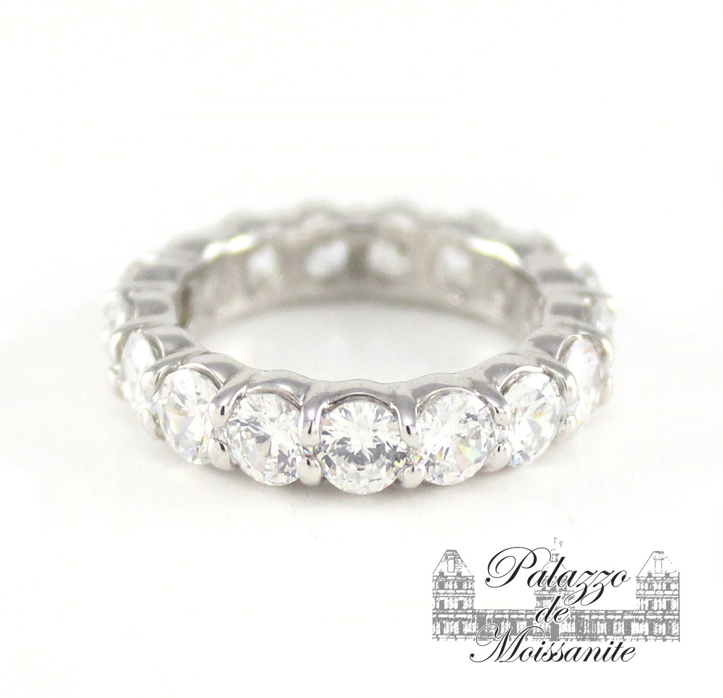 round wedding moissanite ring band set and prong fire products half eternity palladium bands