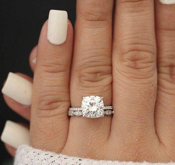 14k White Gold Cushion 9mm Moissanite Forever Classic Ring, Engagement Ring, Promise Ring, Diamond Half Eterntiy Band, Milgrain Band