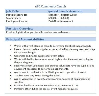 Sample Church Employee Job Descriptions  Job Description And Churches