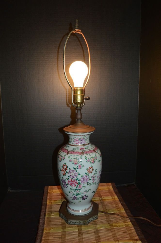 Asian Table Lamps Interesting Vintage Porcelain Pink Floral Asian Table Lamp Etched Brass Base 60