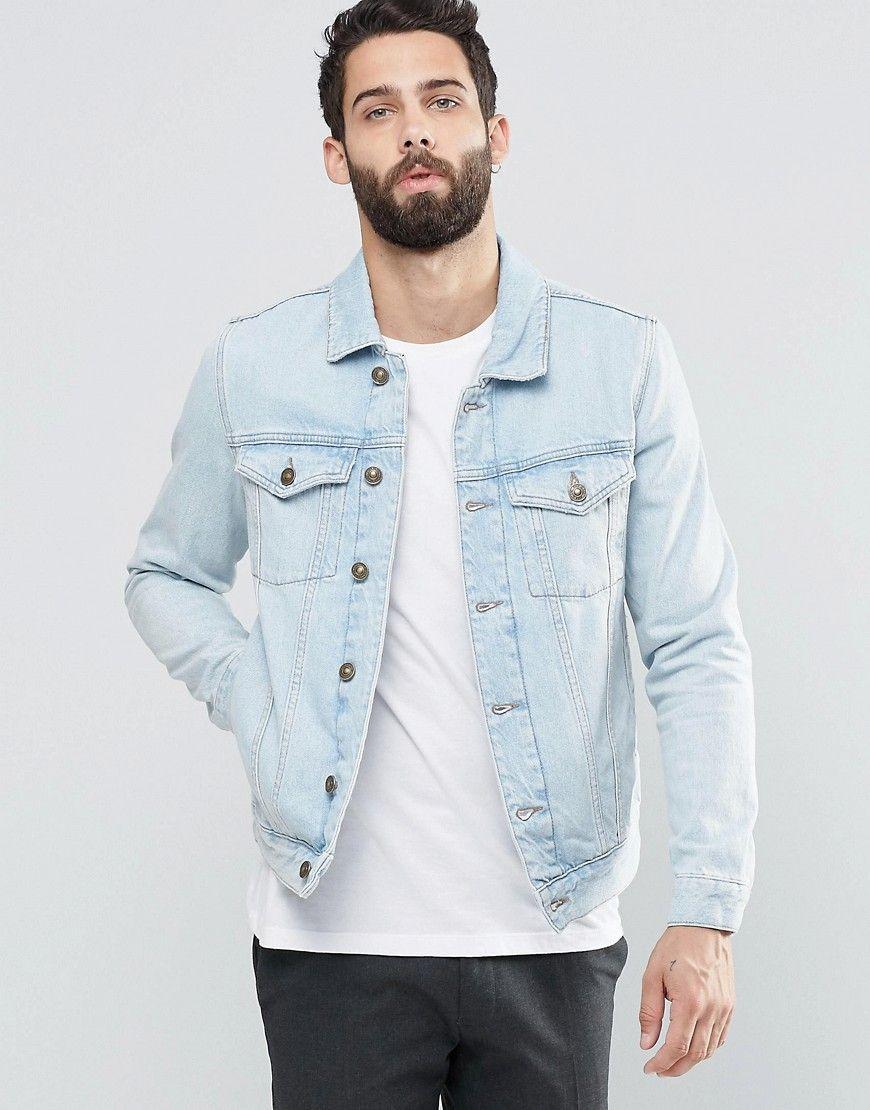 River Island Denim Jacket In Light Wash Blue At Asos Com Denim Jacket Men Outfit Denim Jacket Mens Light Jacket [ 1110 x 870 Pixel ]