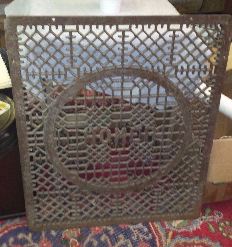 Antique Cast Iron Floor Grate Vent Register Large 25x30 Square W Round Homer Cold Air Return Antiques Air Return