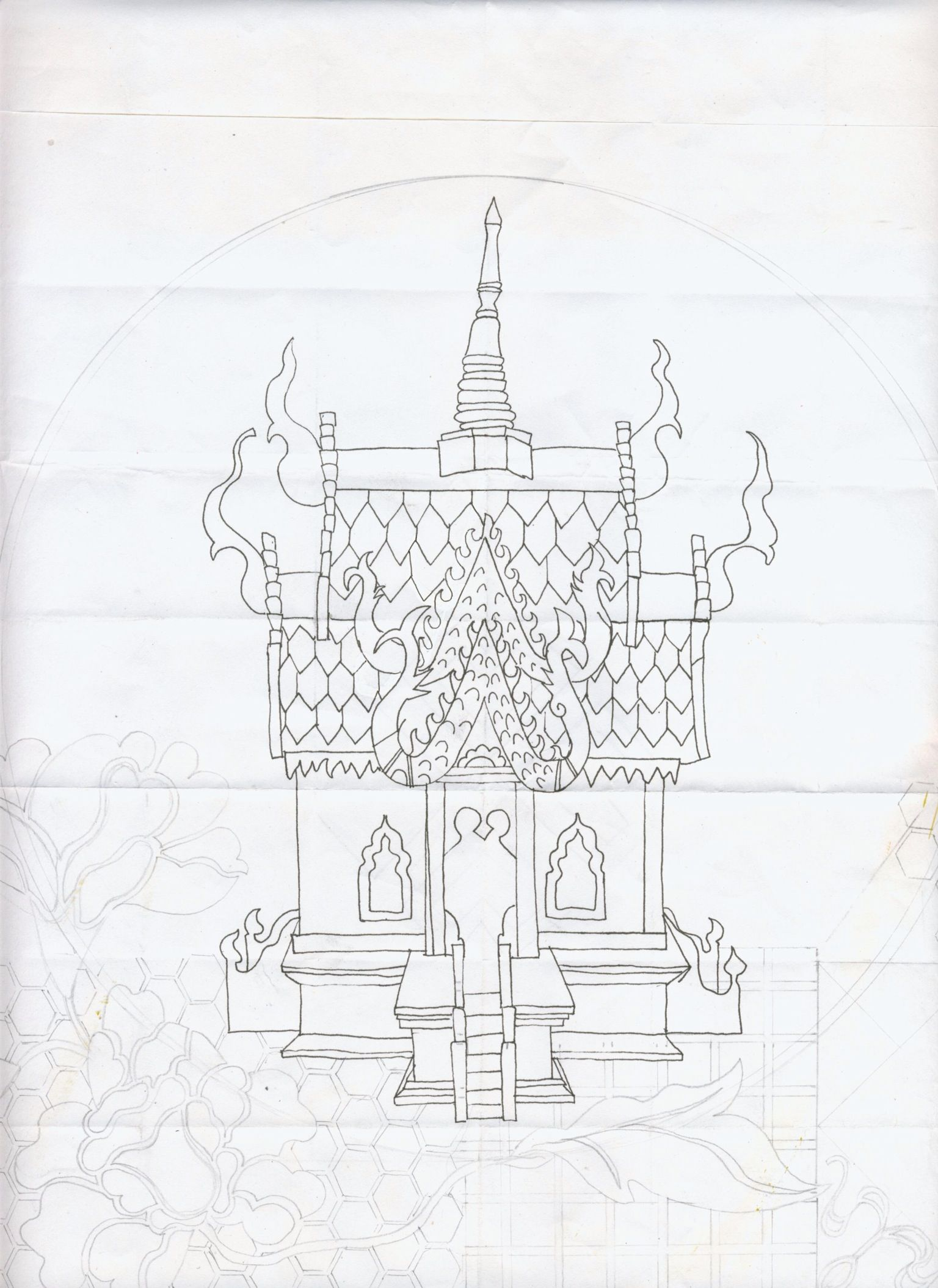 Elzahn nel, Thai spirit house. Pen on paper 2013