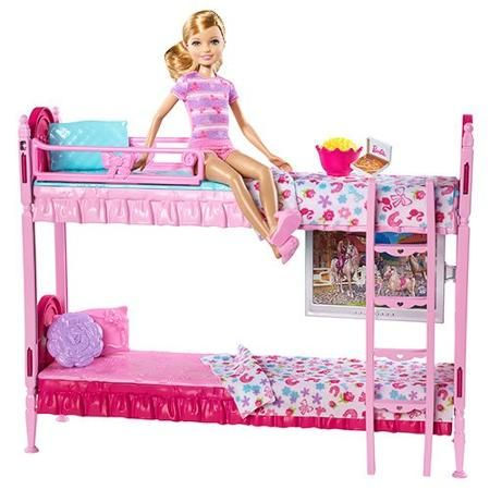 Barbie Sisters Bunk Beds Play Set Walmart Com Barbie Bedroom Barbie Doll House Barbie Playsets
