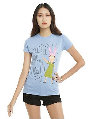 """<p>Do not cross Louise Belcher. She will see you in hell. True story.</p><p>Fitted light blue heather tee from <i>Bob's Burgers</i> with a large Louise design that reads """"I'll See You In Hell.""""</p><ul><li>65% polyester; 35% cotton</li><li>Wash cold; dry low</li><li>Imported</li><li>Listed in junior sizes</li></ul>"""