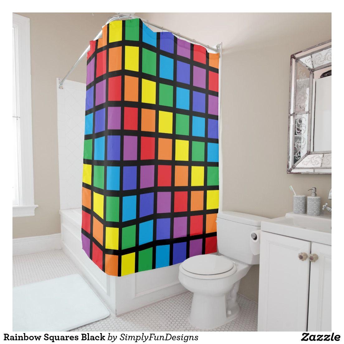 Rainbow Squares Black Shower Curtain