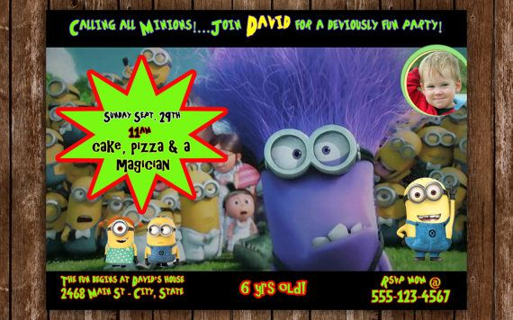 Despicable Me  Birthday Invitation  by stephaniescollection, $9.99