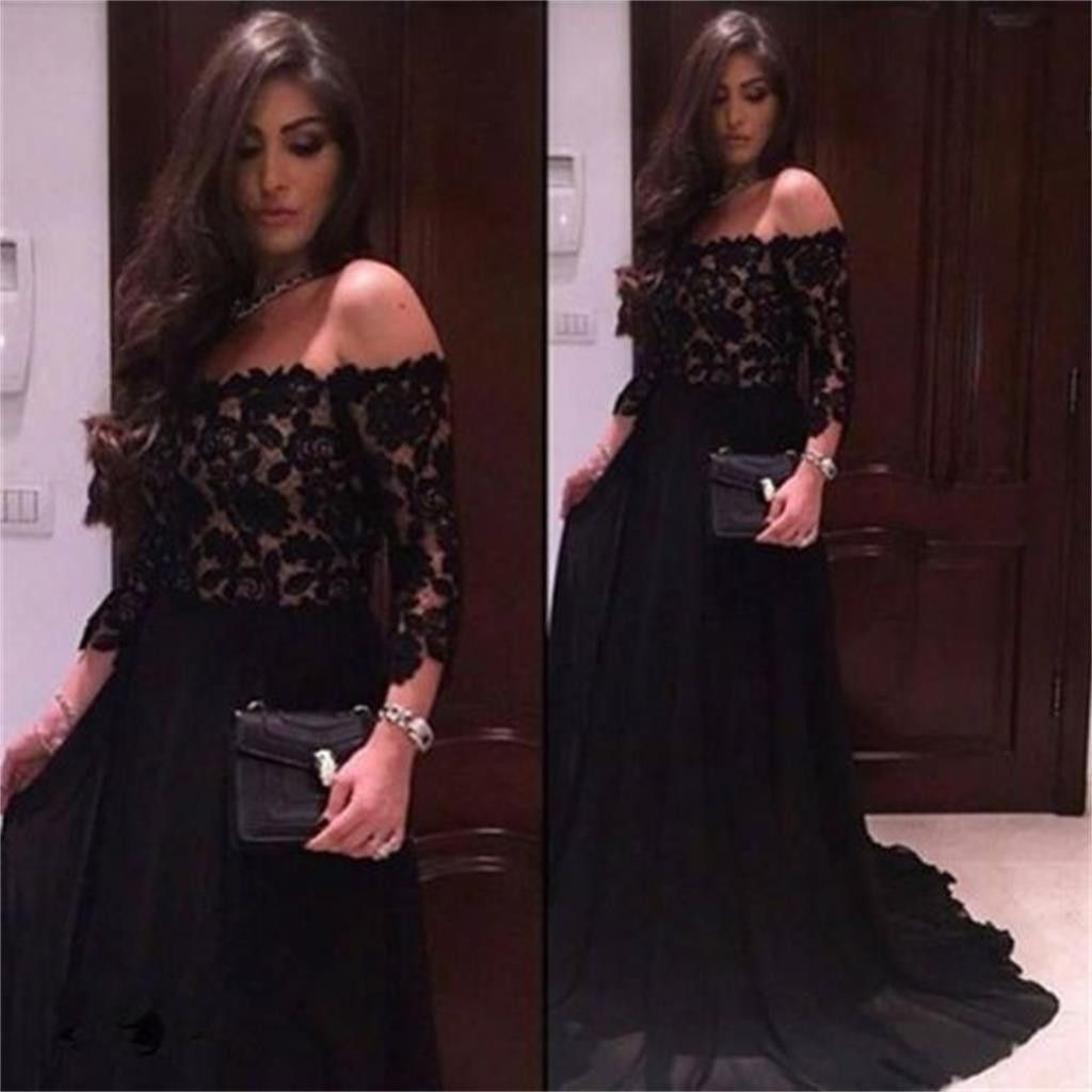Black chiffon top lace off should straight neck long sleeves party