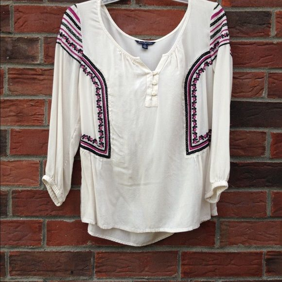 AE shirt. WORN ONCE. White shirt with purple and blue detailing. 3/4 sleeve & 3 buttons at top. ONLY WORN ONCE! American Eagle Outfitters Tops Blouses