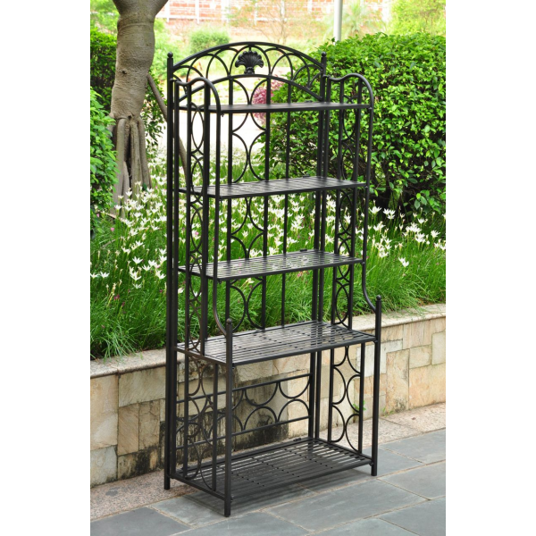 Patio Bakers Rack | Florence Indoor/Outdoor 5 Tier Iron Bakers Rack