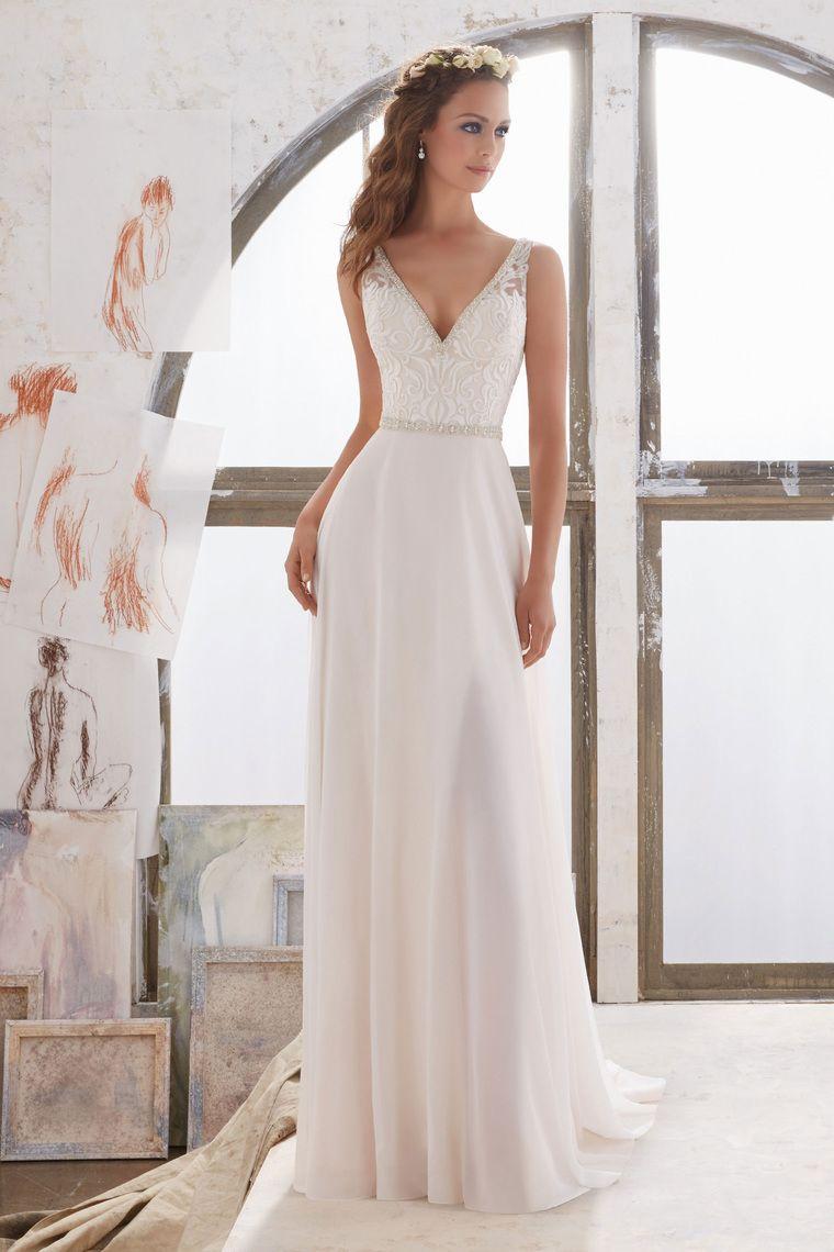 2017 V-Ausschnitt Brautkleider A-Linie Chiffon mit Perlen und ...