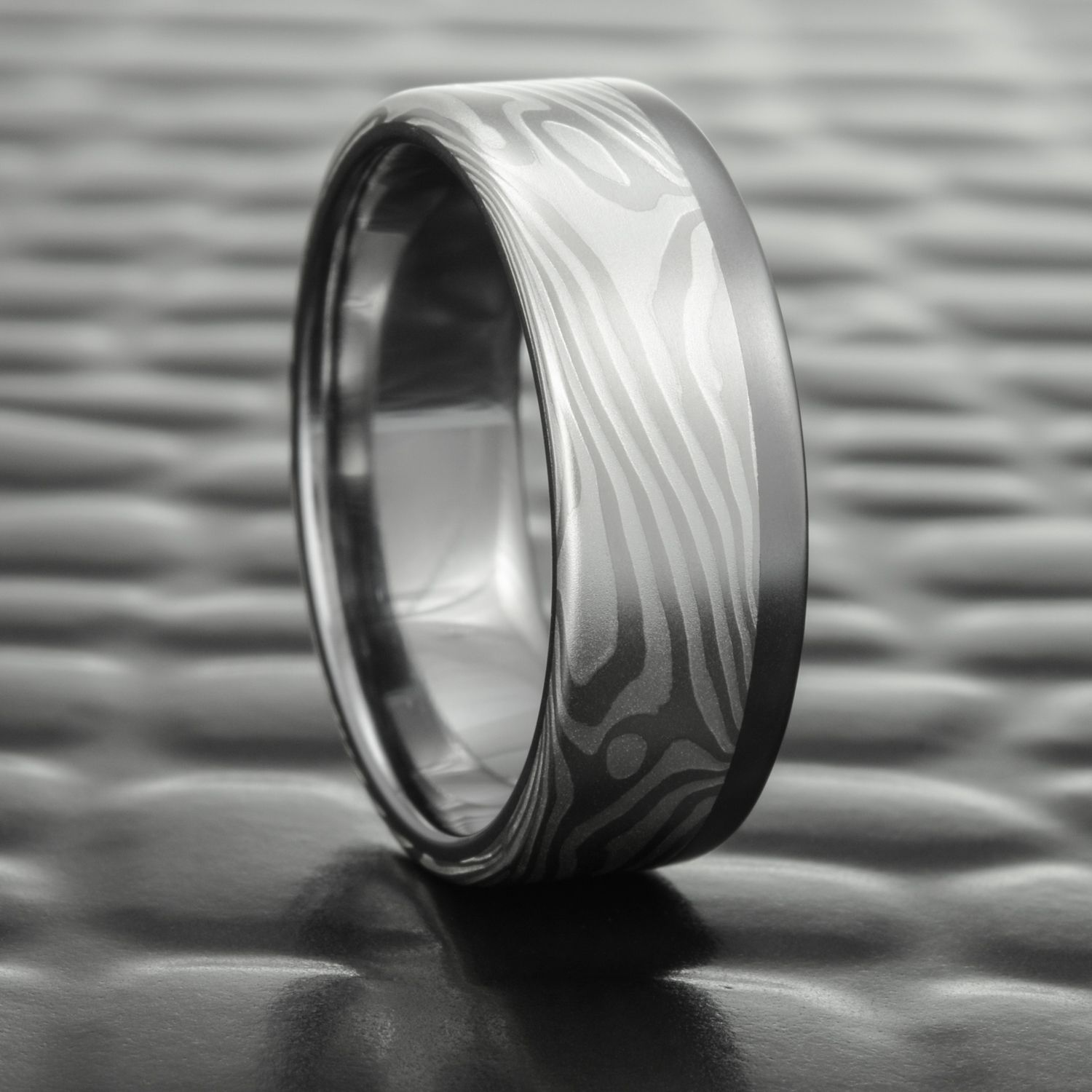 Mokume Gane Premium Wedding Band Silver And Palladium With Tantalum Liner Rail At