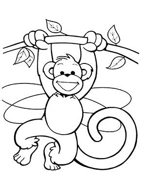 Ausmalbild Affe Hangt An Einem Ast Kinderfarben Malvorlagen Fur Kinder Ausmalbilder